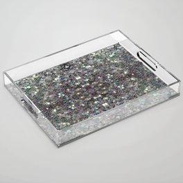 Sparkly colourful silver mosaic mandala Acrylic Tray