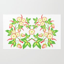 Flowers and strawberries Rug