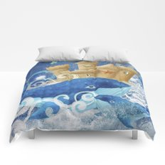 Sandcastle Waves Whales Comforters