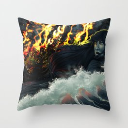 Running to the Sea Throw Pillow