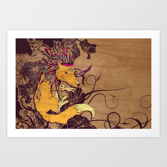 Spirit Happy Fox Art Print