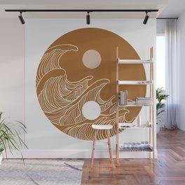 Yin Yang Wave Sun and Moon  Wall Mural
