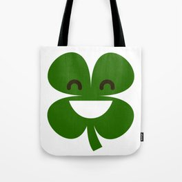 Clover Emoji Smiling St Patricks Day Irish Shamrock Tote Bag