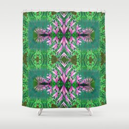 Futuristic Floral in Spring Green and Fresh Bloom Shower Curtain