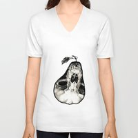 pear V-neck T-shirts featuring Pear by Nikole Stark