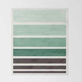 Deep Green Minimalist Watercolor Mid Century Staggered Stripes Rothko Color Block Geometric Art Throw Blanket