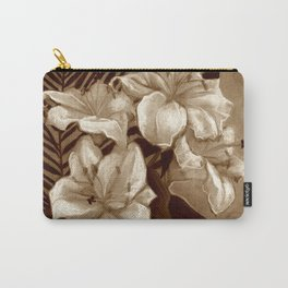 White Lilies and Palm Leaf in brownscale Carry-All Pouch