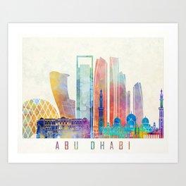 Abu Dhabi V2 landmarks watercolor poster Art Print