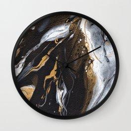 Golden Veined Marble Wall Clock
