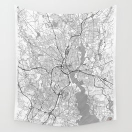 Providence Map Line Wall Tapestry