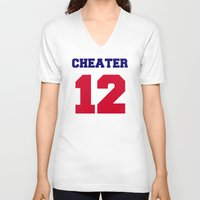 patriots V-neck T-shirts featuring Tom Brady Cheater  by All Surfaces Design