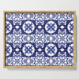 Portuguese Tiles Azulejos Blue and White Pattern Serving Tray