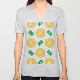 Japanese yen pattern background. Unisex V-Neck