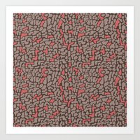 Seamless pattern with organic hand drawn rounded and stripe shapes Art Print