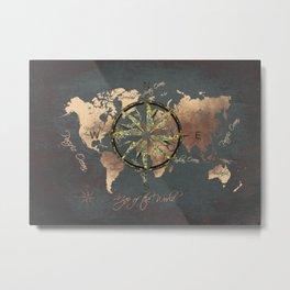 world map wind rose 8 #worldmap #map Metal Print