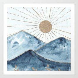 Indigo & gold landscape 1 Art Print