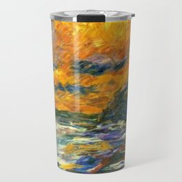 Brilliant Orange-Gold Sunset on the Autumn Sea landscape portrait painting by Emil Nolde Travel Mug