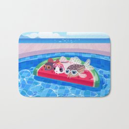 Cory cats in the swimming pool Bath Mat