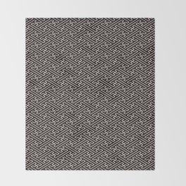 Black Auspicious Sayagata Japanese Kimono Pattern Throw Blanket
