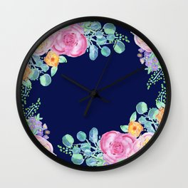 light pink peonies with navy background Wall Clock