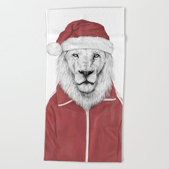 Santa lion Beach Towel
