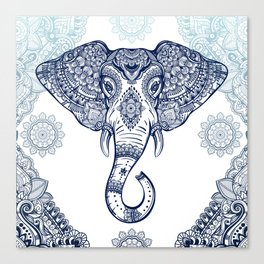 Bohemian Elephant Tribal Boho Gradient Blue Canvas Print