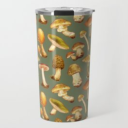 Wild Mushrooms Green Travel Mug
