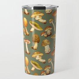 Wild Mushrooms Green Travel Mug