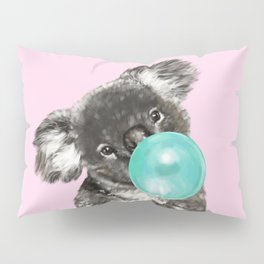 Playful Koala Bear with Bubble Gum in Pink Pillow Sham