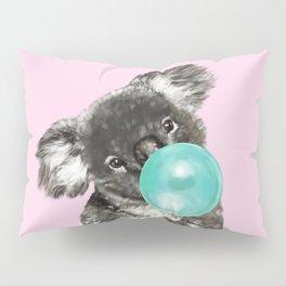 Playful Koala Bear with Bubble Gum in Pink Pillow Sham