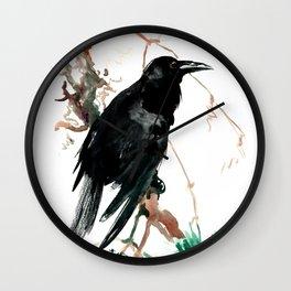 raven, raven crow artwork black brown Wall Clock