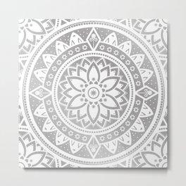 Silver & White Patterned Flower Mandala Metal Print
