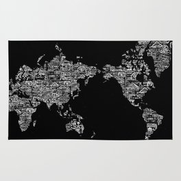 Passport Stamp Map Special Edition, Black and White Rug