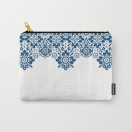 Blue lace on white background . Carry-All Pouch