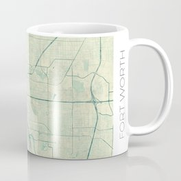 Fort Worth Map Blue Vintage Coffee Mug