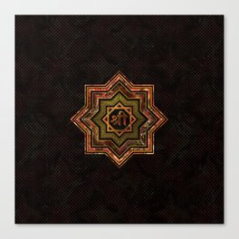 Red Gemstone and gold  Star of Lakshmi -  and Sri Canvas Print