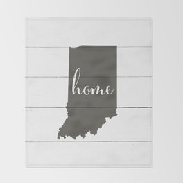 Indiana is Home - Charcoal on White Wood Throw Blanket