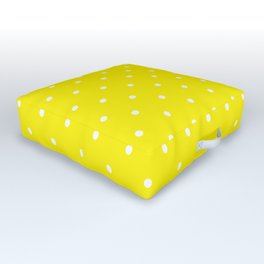 Small White Polka Dots with Yellow Background Outdoor Floor Cushion