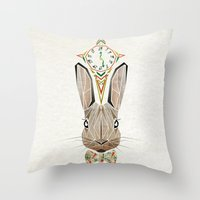 rabbit Throw Pillows featuring rabbit by Manoou