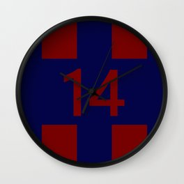 Legendary No. 14 in red and blue Wall Clock