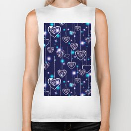 Openwork hearts on bright blue background. Biker Tank