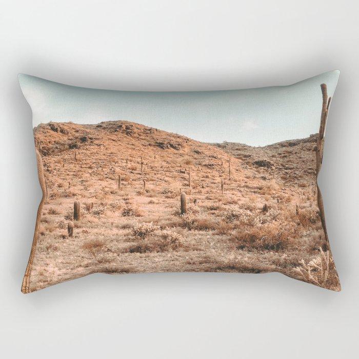 Saguaro Mountain // Vintage Desert Landscape Cactus Photography Teal Blue Sky Southwestern Style Rectangular Pillow