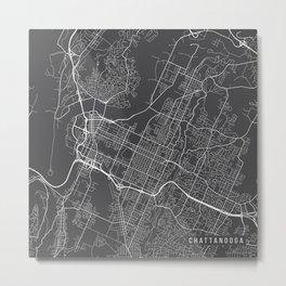 Chattanooga Map, USA - Gray Metal Print