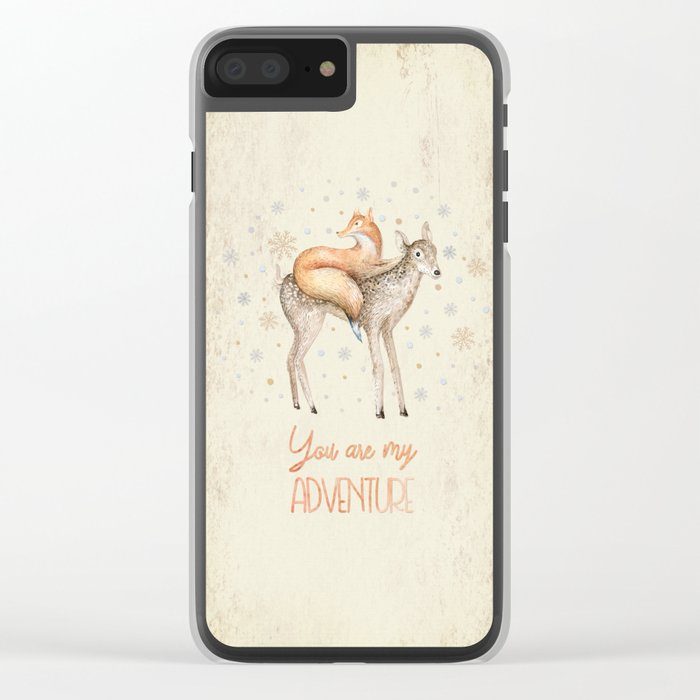 You are my adventure- fox and deer in winter- merry christmas Clear iPhone Case
