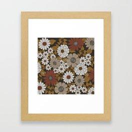 Brown, Orange, and Ivory Retro Flower Pattern Framed Art Print