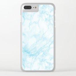Elegant pastel blue white modern marble Clear iPhone Case