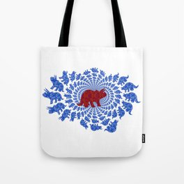 Dinosaur Fractal Print in Blue and Red Tote Bag