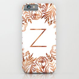 Letter Z - Faux Rose Gold Glitter Flowers iPhone Case