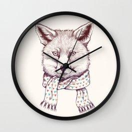 Fox and scarf Wall Clock