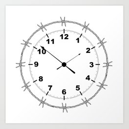 Barbed Wire Clock Art Print